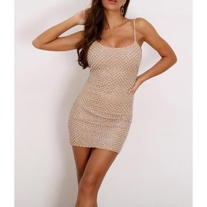 Nude Pearl Embellished Bodycon Cocktail Dress